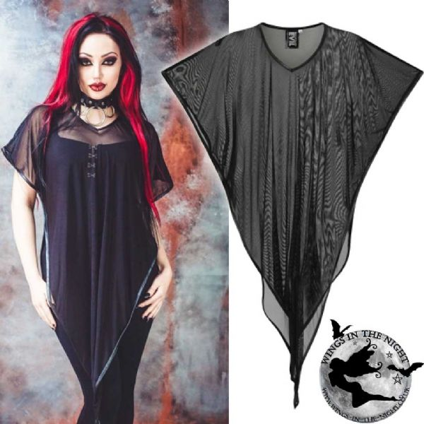 NECESSARY EVIL Yemoja Black Net Gothic Poncho Top